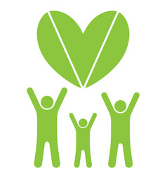 Eco family and heart vector