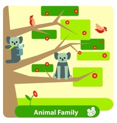 Family of koalas on a eucalyptus tree with birds vector