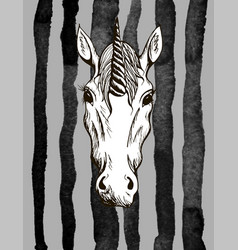 fashionable pattern with unicorn for t-shirt vector image
