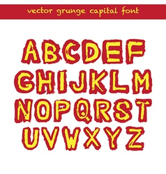 Grunge capital font vector