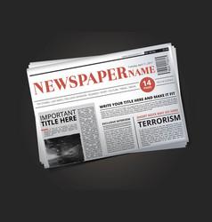 half of newspaper template with headline vector image