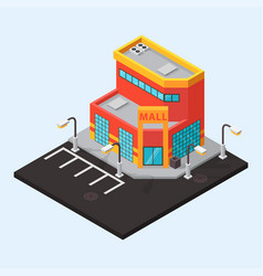 Mall shop isometric buildings isolated vector
