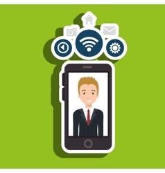 Man cellphone wifi connection vector