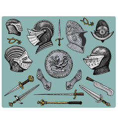 Medieval symbols helmet and gloves shield with vector