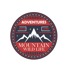 mountaineering adventures vintage isolated badge vector image