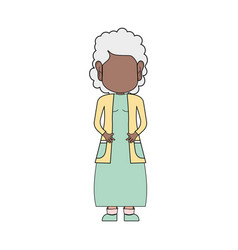 Old woman with hairstyle and casual clothes vector