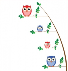 owl family tree vector image