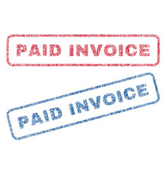 Paid invoice textile stamps vector