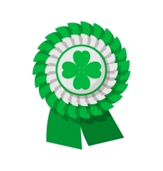 Ribbon rosette with four leaf clover cartoon icon vector image vector image