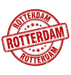 Rotterdam red grunge round vintage rubber stamp vector