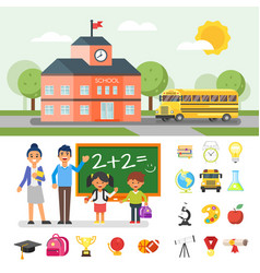 school building and yellow bus vector image vector image