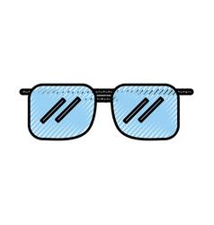 Scribble blue sunglasses cartoon vector