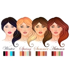Seasonal color types for women skin beauty set vector