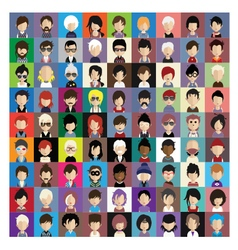 Set of people icons in flat style with faces 10 b vector