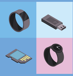 Set smartwatch and usb technologies services vector