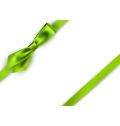 Shiny green satin ribbon on white background vector image vector image