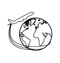 Silhouette airplane around earth world icon vector