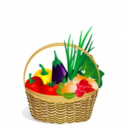 Vegetables in the basket vector