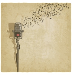 Vintage background with microphone vector
