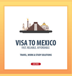 visa to mexico document for travel flat vector image