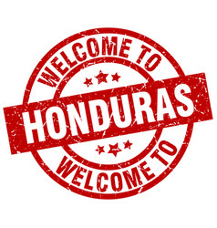 welcome to honduras red stamp vector image vector image