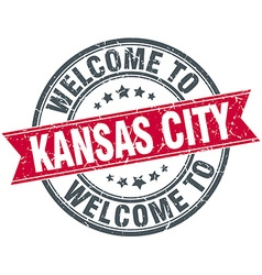 Welcome to kansas city red round vintage stamp vector