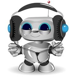 White robot headphones vector image