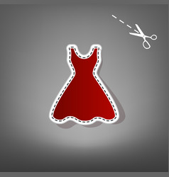 Woman dress sign red icon with for vector