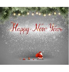 Happy new year hand drawn inscription and santa vector