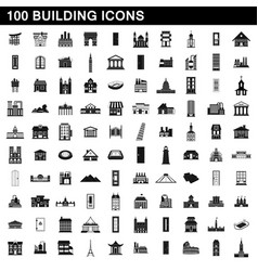 100 building icons set simple style vector