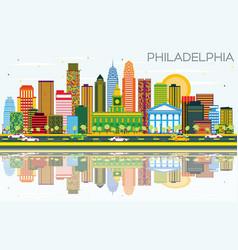 Philadelphia skyline with color buildings blue vector