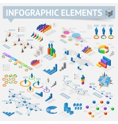 Isometric style infographics with data icons vector image