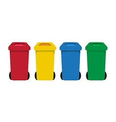 Many color wheelie bins set of waste vector