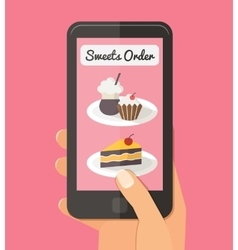Food delivery online internet order flat vector