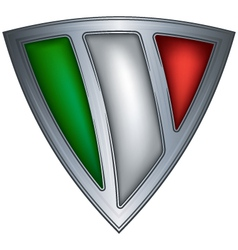 Steel shield with flag italy vector