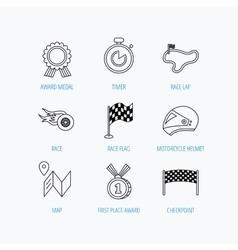 Race flag and speed icons winner medal signs vector