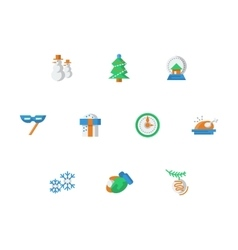 Winter entertainment flat color icons set vector