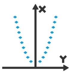 Dotted parabola plot toolbar icon vector