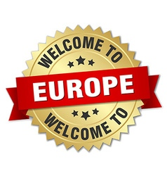 Europe 3d gold badge with red ribbon vector