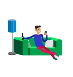 Man resting at home laying on sofa vector