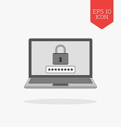 Laptop with lock on screen icon computer security vector