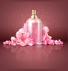 Care skin organic product with japanese sakura vector