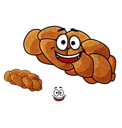 Cartoon loaf of plaited bread with poppy seed vector image