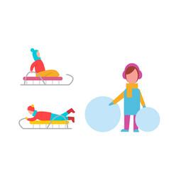 childrens winter activities vector image vector image