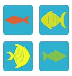 color icon set with fish vector image