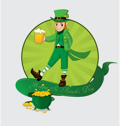 Cute cartoon leprechaun with beer for patrick day vector