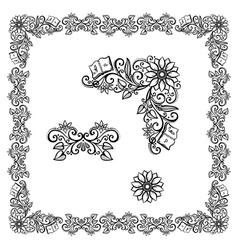 Decorative Floral Frame Ornament vector image vector image
