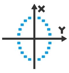 Dotted ellipse plot icon vector