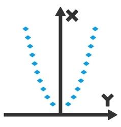 Dotted parabola plot toolbar icon vector
