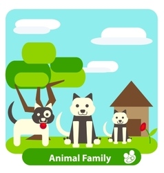 Family dog on the background of trees and sky vector